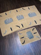 ROMANY GYPSY WASHABLES HAND BAGS DESIGN DARK BEIGE NON SLIP MATS BEST AROUND 4PC